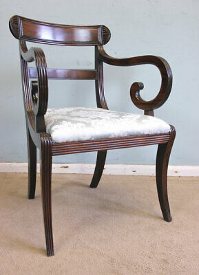 Antique 19Th Century Mahogany Desk Chair, Carver Elbow Armchair