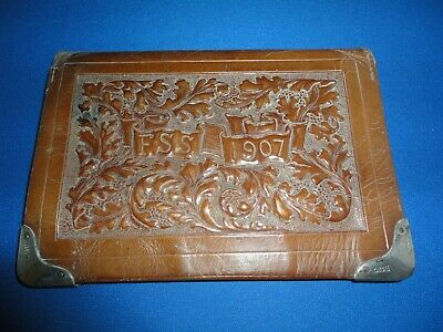 LARGE LEATHER SOLID SILVER MOUNTED WALLET / STAMP/ CARD/ NOTEPAD c1904 DE LA RUE