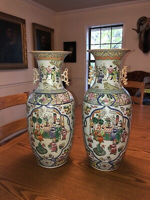 """Antique Chinese Large Pair Famille-Rose 22"""" Tall Vases"""