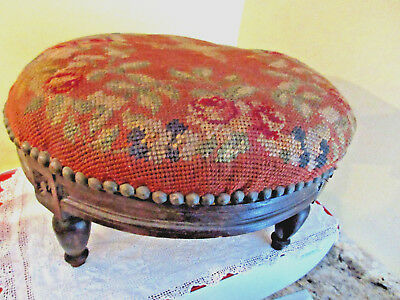 Antique Small American Empire Footstool Walnut Needlepoint Round