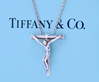 2c0c845e9 TIFFANY&Co Crucifix Small Cross Necklace Peretti Silver 925 w/BOX v1692