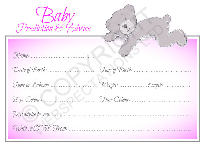 15 BABY SHOWER Prediction & Advice Cards Party Games Pink Girls Keepsake New Mum