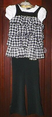 Girls 4T Little Lass Black Knit Pull On Pants & 4/5 George Layered Tiered Top