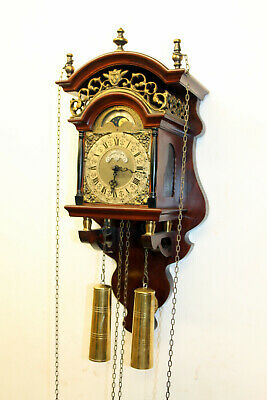 Old Wall Clock Dutch Sallander Clock Vintage with Moonphase