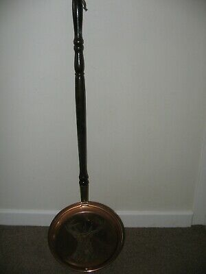 Antique  Copper & Brass  Bed Warming Pan , Engraved With A Stags Head