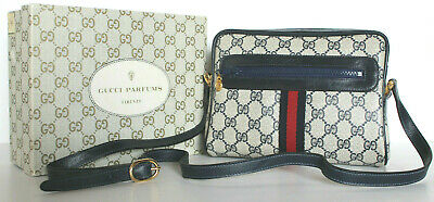 8399673d44f NEW~Vintage GUCCI~Ophidia PARFUMS Leather Crossbody Blue Web Supreme GG Bag  Box
