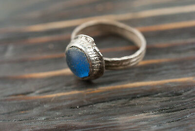 Medieval Silver Ring with Blue Glass 16th-17th century Antique Renaissance Ring
