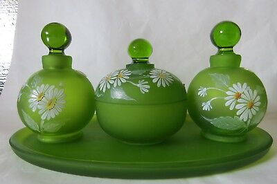 Westmoreland Dresser Vanity Set Perfume Bottle (s), Puff Box, Tray Green