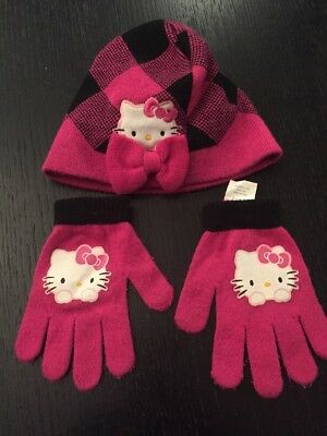 08a9f01d7 Girls Winter Hat Gloves Set Hello Kitty Pink Black One Size Fits Most  (youth)