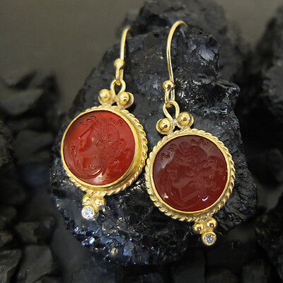 Ancient Handmade Intaglia Carnelian Glass Earring Gold Over 925 Sterling Silver