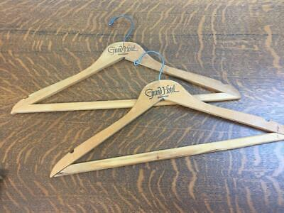 Lot of 2 Vintage THE GRAND HOTEL Mackinac Island Wooden Hangers Advertising Wood
