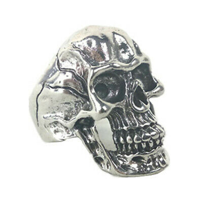Silver Stainless Steel Men's Skull Ring Gothic Rocker Vintage Fashion Jewelry