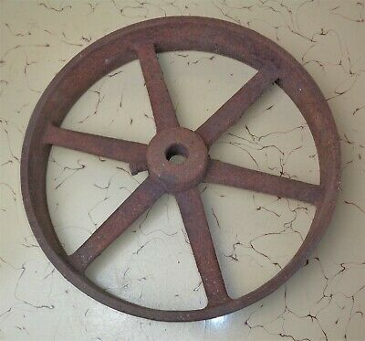 "Antique Primitive Heavy Cast Iron Industrial Wheel Steampunk 14 1/4"" Diameter"