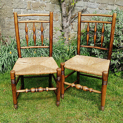 C19th Pair of Oak Spindle Back Rush Seat Country Chairs (Georgian Dining Side)