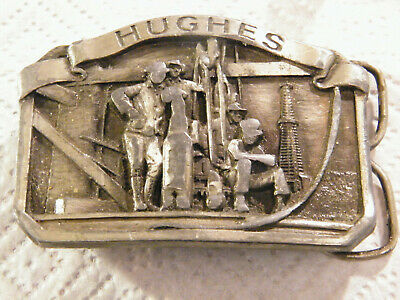 Vintage HUGHES TOOL DIVISION Oil Drilling Equipment Belf Buckle ASI 3693 pewter