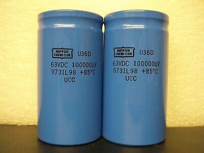 2X 100,000UF 63V electrolytic capacitors,computer grade, for audio amplifier,kit