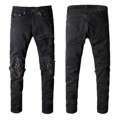 New Mens Italy Pop Style Ripped Pants Destroyed Black Jeans Slim Trousers D8035T