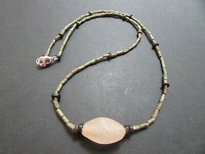 NILE  Ancient Egyptian Rock Crystal Amulet Mummy Bead Necklace ca600 BC