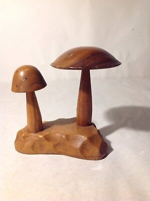 Vintage Wood Carved Double Mushroom Statue Monkey Pod Appetizer toothpick fairy