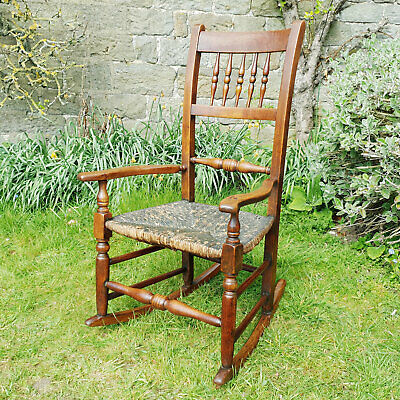 C19th Fruitwood Country Rush Seat Rocking Armchair (Victorian Georgian)