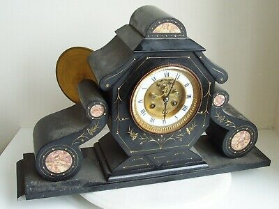 LARGE VINTAGE SLATE / MARBLE MEDAILLE DE BRONZE MOVEMENT CLOCK 11.5kg