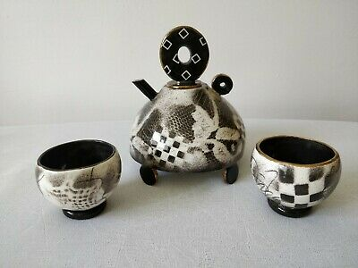 Abstract Vintage Zufelt Signed Tea Set Hand Thrown Painted Art Studio Pottery