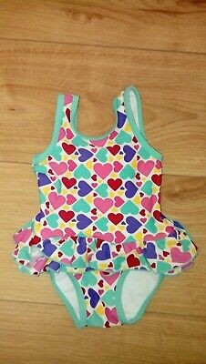 Baby Girl Mothercare Multicoloured Hearts Swimsuit Age 3-6 Months