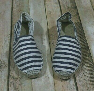 5cd7f0df9 Soludos Espadrille Flats Womens Size 7 Blue White Stripes Smoking Slippers