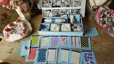 Rare Vintage Boxed Britain's Cottons Samples 1960s Historical Weaving