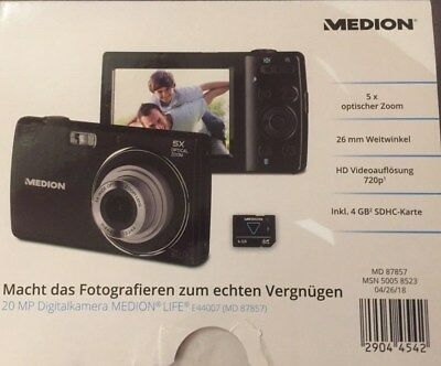 MEDION E44007 MD 87857 20 MP Digitalkamera 8-fach digitaler Zoom 6,86 cm 2,7""