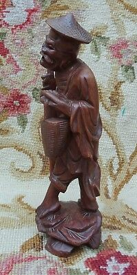 Antique Hand Carved Chinese Wooden Figure Scholar Oriental Hardwood  Wise Man