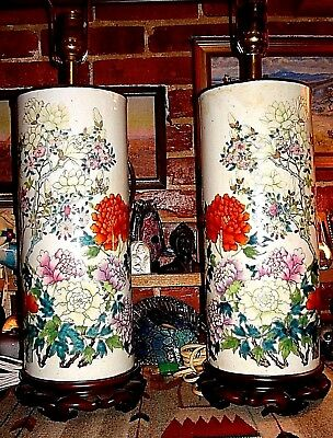 Fabulous Antique Qing Chinese Hand Painted Cylindrical Chrysanthemum Vase/Lamps