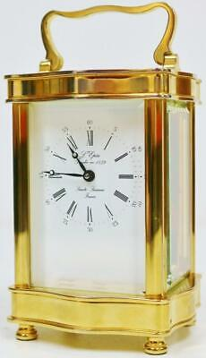 Vintage French L'Epee Brass & Bevelled Glass Serpentine Timepiece Carriage Clock