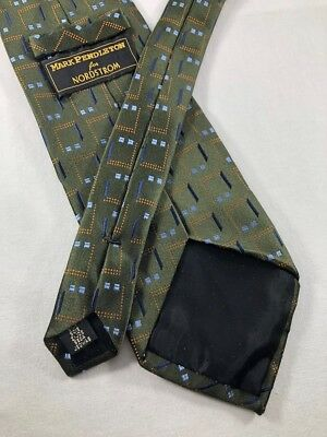 MARK PENDLETON XL Silk Tie ~ $50 NORDSTROM X-LONG Green Abstract Geometric 3844