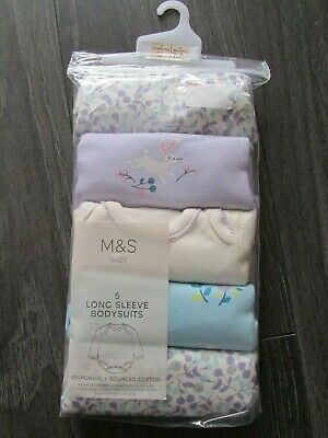 baby girls 5 pack long sleeve bodysuits from M&S age Newborn,by M&S,BNIB