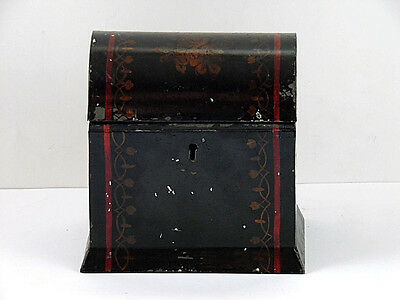 Antique Victorian Toleware Tea Caddy Metal Box Dome Lid Floral Black c1880