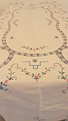 Vintage Crochet Embroidered Cross Stitch Table Linen big Tablecloth 81 x 63 ""