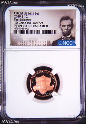 2019 S Proof LINCOLN CENT Penny NGC PF69 UCAMEO RD in 10-coin-set FR Portrait LB
