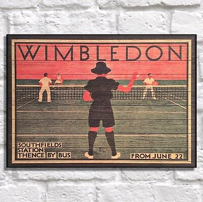 Wimbledon Vintage Posters Tennis Print Panel effect Wood wall decor Women gifts