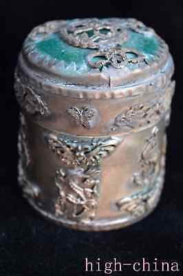 Collect Ancient Miao Silver Carving Myth Dragon Inlay Agate Auspicious Big Box