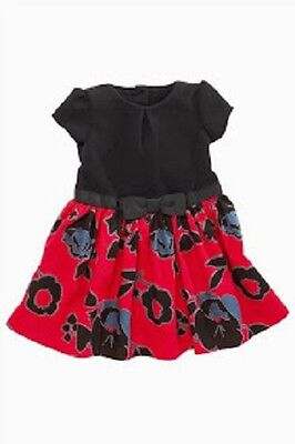 BNWT NEXT Girls Red & Black Flower Print Dress With Bow 2-3-4 Years