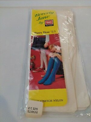 Vintage Hanes Red Label Beverly Jane Seamless Stretch Tights white  Size1-3