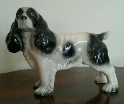 Great Large Melba Ware Black and White Spaniel China Dog Hand Painted