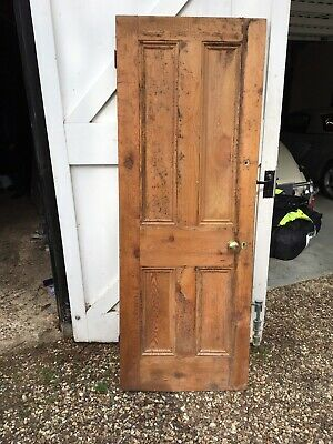 7x Victorian Antique Reclaimed Victorian Stripped Pine Doors 4 Panel Wooden