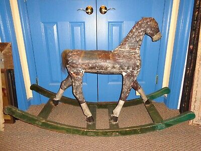 Antique 19th.c Folk Art Child's Painted Wood Rocking Horse, Primitive