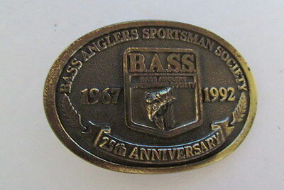 Collectible BASS 25th Anniversary Brass Belt Buckle 1967 - 1992 Never Used