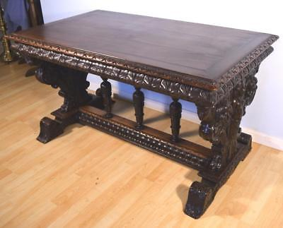 French Antique Renaissance Revival Library Table/Desk in Walnut