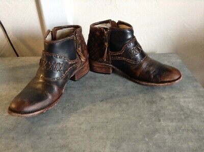 e42aea42348 FREEBIRD BY STEVEN FB Grand Brown Leather Ankle Boots Booties Sz 6