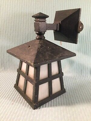 Antique Solid Cast Bronze/Brass Porch Light w/ Slag Glass VERY HEAVY EC