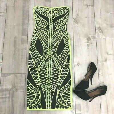 d3f7e6b262b Herve Leger Strapless Neon Green  Off Black Bandage Bodycon Dress Size   Small